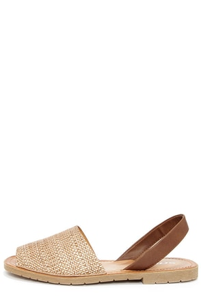 Soda One Taupe Raffia Flat Sandals