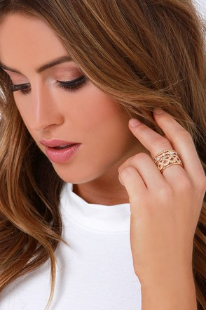 Imperial Palace Gold and Rhinestone Ring Set at Lulus.com!