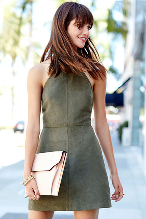 Saloon Swoon Olive Green Halter Dress at Lulus.com!