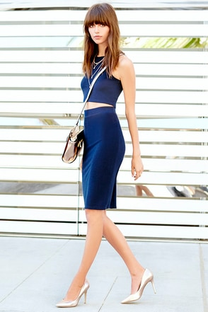 City Breeze Navy Blue Two-Piece Midi Dress at Lulus.com!