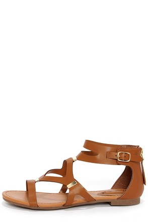 Ruby 31 Tan and Gold Gladiator Sandals