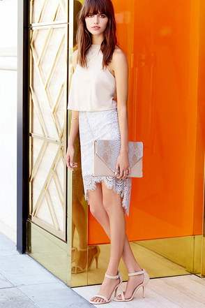 Grand Apparition Grey Lace Skirt at Lulus.com!