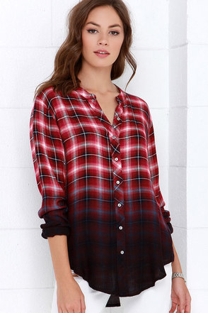 White Crow Hour of Darkness Red Plaid Button-Up Top at Lulus.com!