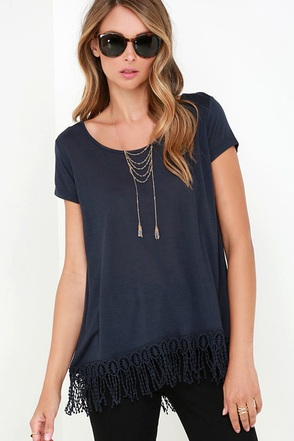 Black Swan Rayla Navy Blue Top at Lulus.com!