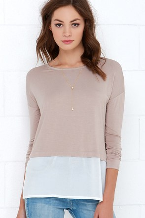 Half We Met? Taupe Long Sleeve Top at Lulus.com!