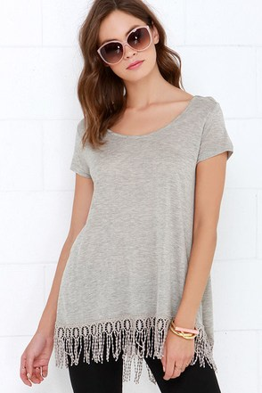 Black Swan Rayla Heather Grey Top at Lulus.com!