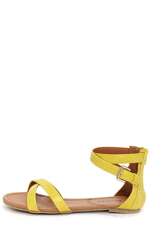 Otter 2 Lemon Yellow Ankle Strap Sandals