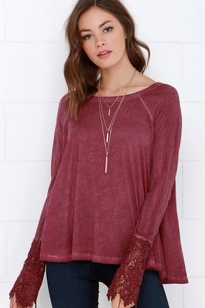 Black Swan Drizzle Washed Burgundy Lace Top at Lulus.com!