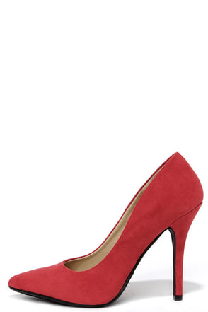 Step It Up Red Suede Pointed Pumps at Lulus.com!