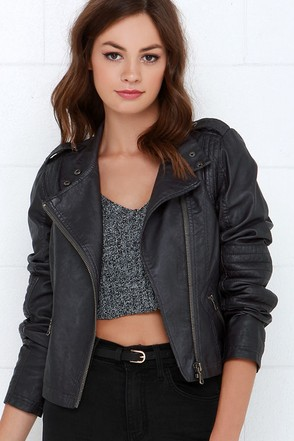 Black Swan Heart Washed Black Vegan Leather Moto Jacket at Lulus.com!