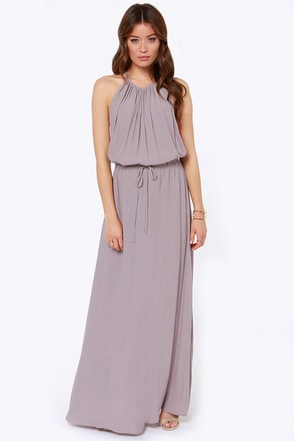 Drape Shifter Taupe Maxi Dress