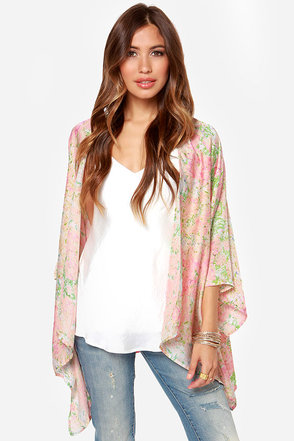 With the Flowers Pink Floral Print Kimono