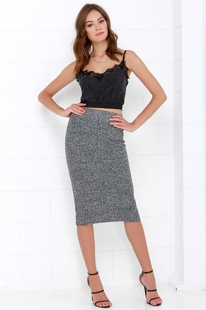 JOA Ecstatic to See You Grey Midi Skirt at Lulus.com!