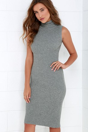 Cozy on Down Grey Midi Sweater Dress at Lulus.com!