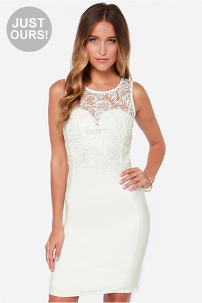 LULUS Exclusive Chasing Dreams Ivory Lace Midi Dress