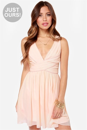 LULUS Exclusive Paths Cross Peach Dress