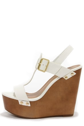 Emily 32 White Platform Wedge Sandals