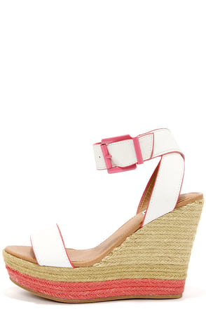 Not Rated White Sand White and Coral Espadrille Wedge Sandals