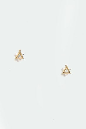 Glimmer Down Gold Rhinestone Earrings