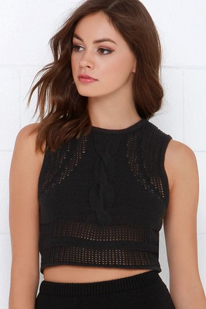 RVCA Number One Black Knit Crop Top at Lulus.com!