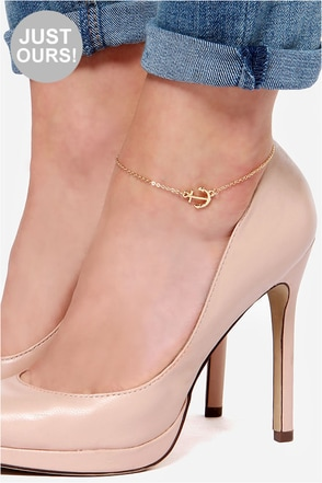 LULUS Exclusive Hanker For Anchor Gold Anchor Anklet