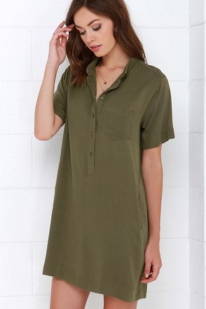 Reporting for Cutie Olive Green Shift Dress at Lulus.com!