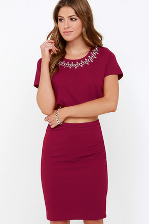 Fancy That! Wine Red Two-Piece Dress at Lulus.com!