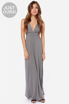 LULUS Exclusive At Great Length Grey Maxi Dress