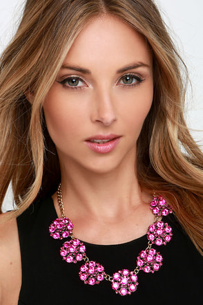 Room to Bloom Fuchsia Rhinestone Statement Necklace at Lulus.com!