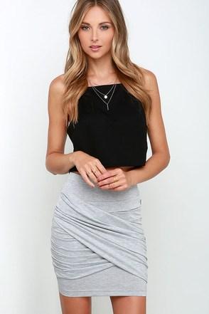 Rhythm My Twist Grey Bodycon Skirt at Lulus.com!