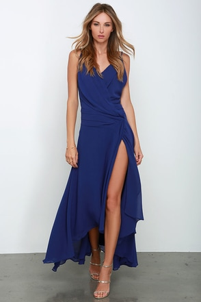 Romantic Rendezvous Royal Blue High-Low Dress at Lulus.com!