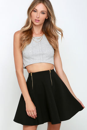 Time After Time Black Skater Skirt at Lulus.com!