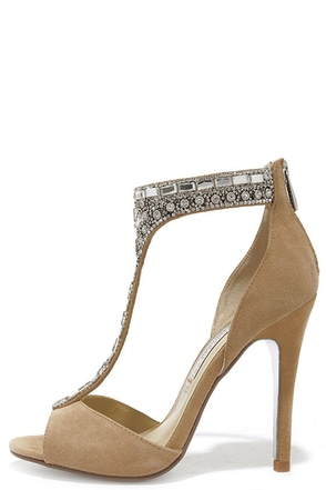 Chinese Laundry Lena Nude Kid Suede Rhinestone Dress Sandals at Lulus.com!