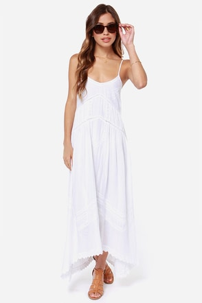 Billabong Sand Kisses Embroidered White Maxi Dress