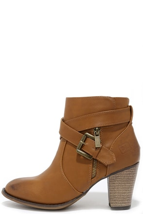 Dirty Laundry Dallas Cognac Burnished High Heel Ankle Boots at Lulus.com!