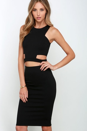 Cleverly Devised Black Bodycon Two-Piece Dress at Lulus.com!