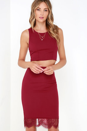 Waltz With Me Wine Red Lace Two-Piece Dress at Lulus.com!