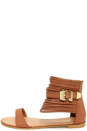 Bamboo Huntington 16 Chestnut Ankle Cuff Sandals