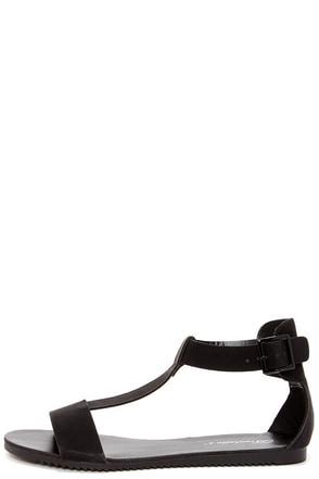 Joy 12 Black T Strap Flat Sandals