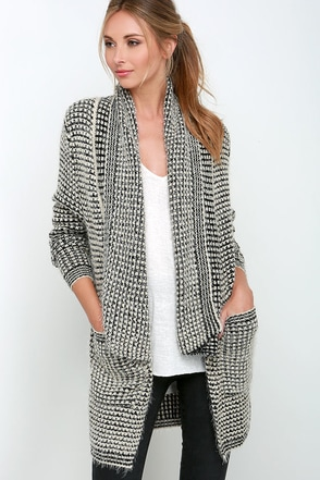 Extra Easeful Black and Beige Cardigan Sweater at Lulus.com!
