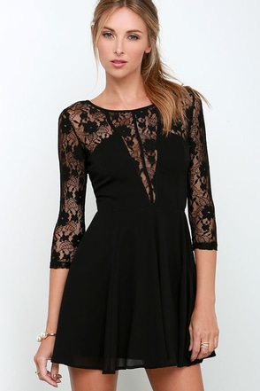 Very Enticing Black Lace Dress at Lulus.com!