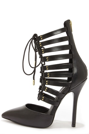 Steve Madden Sts Black Leather Lace-Up Heels