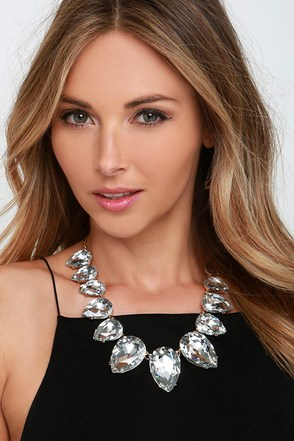 Princess Moment Clear Rhinestone Statement Necklace at Lulus.com!