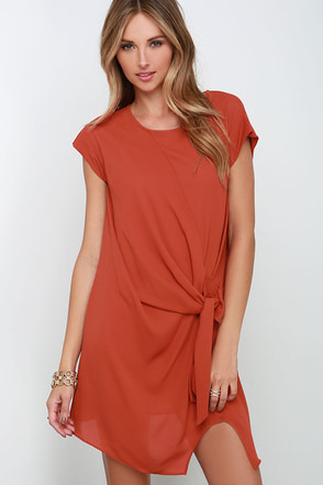 The Act of Ornamenting Rust Orange Dress at Lulus.com!