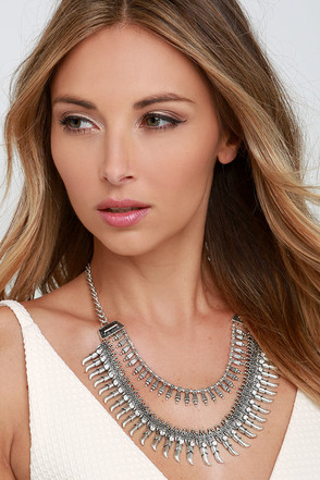Laws of Nature Silver Rhinestone Statement Necklace at Lulus.com!
