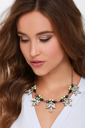 Dream a Little Gleam Blue Rhinestone Statement Necklace at Lulus.com!