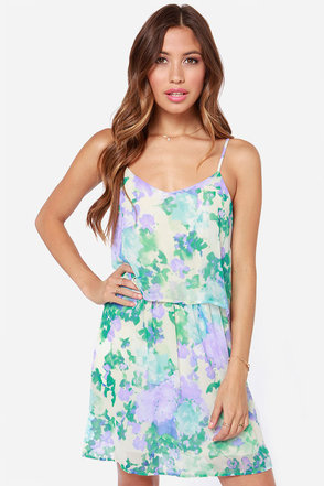 Dream Me Up Cream Floral Print Dress at Lulus.com!
