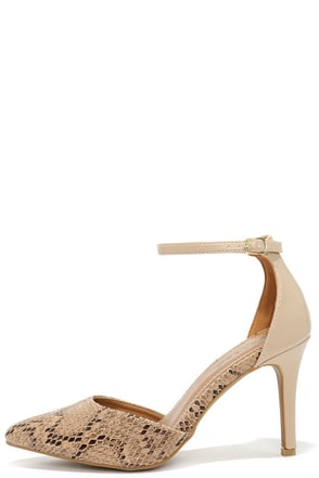 Sidewinder Natural Snakeskin Two-Piece Pumps at Lulus.com!