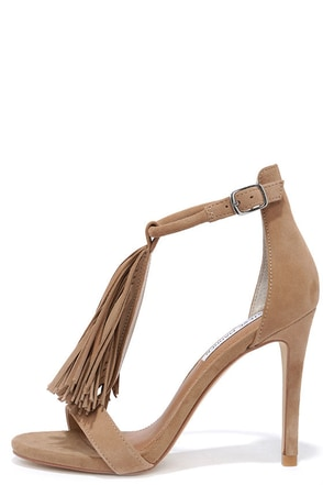 Steve Madden Sashi Taupe Suede Leather Fringe Dress Sandals at Lulus.com!