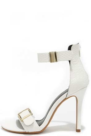 Royal Subjects White Snakeskin Ankle Strap Heels at Lulus.com!